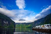Geiranger fjord, Beautiful Nature Norway. Family vacation travel RV, holiday trip in motorhome, Cara poster