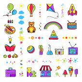 Colorful Promo Sign, Creative Idea For Children Playing Space. Vector Watercolor Icon, Symbols Set O poster