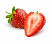Whole Beautiful Strawberry And Half Strawberry Isolated On White Background. poster