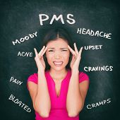 PMS premenstrual syndrome Asian woman holding head in pain having headache, stomach cramps, acne, mo poster