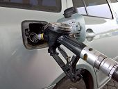 Car At A Gas Station. Gasoline Pistol Pump Inserted In A Tank poster