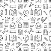 School Supplies Seamless Pattern With Line Icons. Study Tools Background - Globe, Calculator, Book,  poster