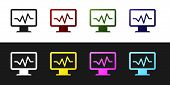 Set Computer Monitor With Cardiogram Icon Isolated On Black And White Background. Monitoring Icon. E poster
