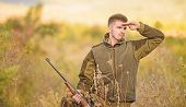 Hunting And Trapping Seasons. Man Brutal Unshaved Gamekeeper Nature Background. Hunting Permit. Bear poster