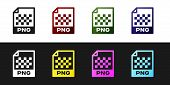 Set Png File Document Icon. Download Png Button Icon Isolated On Black And White Background. Png Fil poster