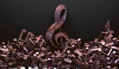 3d Illustration Of Musical Notes And Musical Signs Of Abstract Music Sheet.songs And Melody Concept. poster