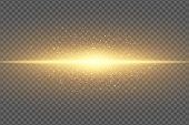 Magic Stylish Light Effect On A Transparent Background. Abstract Golden Flash. Glowing Flying Dust.  poster