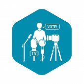 Political Candidate Interview Icon. Simple Illustration Of Political Candidate Interview Vector Icon poster