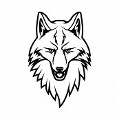 Fox Head Isolated Monochrome Icon. Vector Forest Animal With Pointed Muzzle, Cunning Face Expression poster