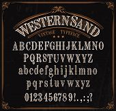 Western Font Letters. Vector Vintage Typeface In Retro Vignette Frame. English Abc, Uppercase And Lo poster