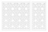 Laser Cut Panel. Decorative Card For Cutting. Arabic, Line Art Pattern. Ratio 1:2, 1:1. Vector Illus poster