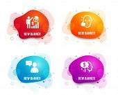 Liquid Badges. Set Of Seo Statistics, Healthy Face And Users Chat Icons. Pay Sign. Analytics Chart,  poster