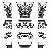 A Set Of Antique Greek Historical Capitals For Calon: Ionic, Doric, And Corinthian Capitals With A C poster