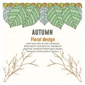 Vector Floral Greenery Autumn Poster Card Design: Forest Fern Frond Eucalyptus Branch Green Leaves F poster