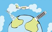 Airplane flying around the globe, with stylized landmarks poster