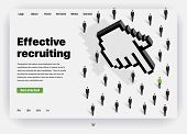 Website Providing The Service Of Human Resources. Concept Of A Landing Page For Effective Recruiting poster
