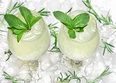 Chilled Drink With Mint Leaves In Glass Cocktail Goblets On Ice Cubes. Summer Beverage. Bar Menu. Co poster