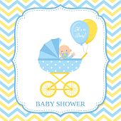 Baby Boy Invite Card. Vector. Baby Shower Invitation. Blue Design Banner. Cute Birth Party Backgroun poster