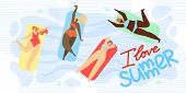 Banner Is Written I Love Summer Illustration. Girls Different Races Lie On Inflatable Mattresses And poster