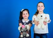 Kids Adorable Cute Girls Play With Soft Toys. Happy Childhood. Child Care. Excellence In Early Child poster