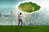 Ecological concept of greenhouse gas emissions poster