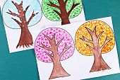 12 Diy Paper Tree Four Seasons Summer, Autumn, Winter, Spring. Tree 4 Season. Childrens Creativity.  poster