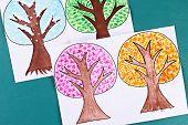 12 Diy Paper Tree Four Seasons Summer, Autumn, Winter, Spring. Tree 4 Season. Childrens Creativity.  poster