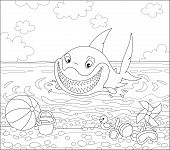 Funny Great White Shark Swimming In Water On A Summer Sea Beach And Friendly Smiling, Black And Whit poster