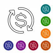 Grey Return Of Investment Line Icon Isolated On White Background. Money Convert Icon. Refund Sign. D poster