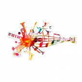 Music Instruments Background With Music Staff. Colorful Trumpet, Saxophone, Double Bell Euphonium, P poster