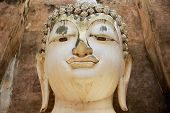 Head Of The White Buddha Statue In Wat Sri Chum Temple In Sukhothai Historical Park In Sukhothai, Th poster
