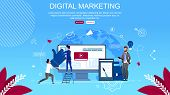 Flat Banner Inscription Digital Marketing Cartoon. Digital Technologies To Attract Potential Custome poster
