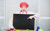 For Advertising Your Information. Master Class In Culinary School. Pretty Woman Pointing Finger At E poster