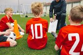 Soccer Game Day Management. Coach Coaching Youth Soccer Team. Boys Listening Coach Inspirational And poster