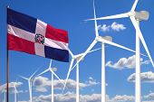 Dominican Republic Alternative Energy, Wind Energy Industrial Concept With Windmills And Flag - Alte poster