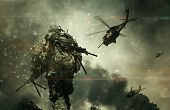Military Forces & Helicopters Between Smoke And Dust At Battlefield. poster