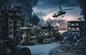 Military Helicopter And Forces In Destroyed City And A Soldier Protects The Soldiers That Roping Hel poster