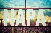 A Close-up Detail Of The Napa Valley Sign Displaying Only The Word Napa. A Vineyard Is In The Backgr poster