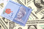 A Close Up Image Of A Blue One Malaysian Ringgit Bank Note On A Bed Of American One Dollar Bills Clo poster