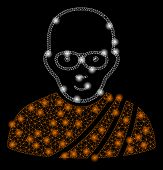 Bright Mesh Buddhist Monk With Glare Effect. Abstract Illuminated Model Of Buddhist Monk Icon. Shiny poster