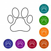 Grey Paw Print Line Icon Isolated On White Background. Dog Or Cat Paw Print. Animal Track. Set Icon  poster