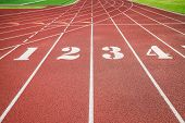 Red Running Track, Track And Field Or Athletics Track Start Line With Lane Numbers poster
