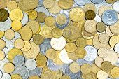 Old Golden And Silvery Coins From Ukraine. History Coins Texture Pattern Money Background. Top View poster