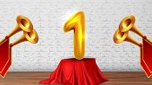 Winner Congratulations In Studio On Scene . Golden Trumpets With Red Flags, Number One 1 On Table Co poster