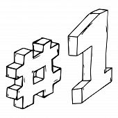 Hashtag And 1 Icon. Vector Illustration Of 3d Hashtag And Number 1. Hand Drawn Hashtag And One. poster