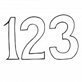 Figures Icon. Vector Illustration Of Numbers 1, 2, 3. Hand Drawn Numbers One, Two, Three. poster