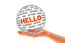 stock photo of dialect  - Hand holding a Hello 3D Sphere sign on white background - JPG
