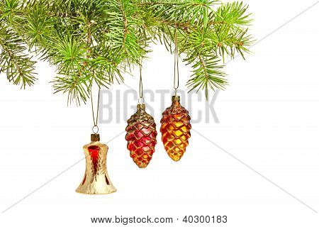 Christmas Bell And Two Cones. Christmas Decoration On The Tree
