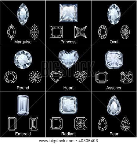 Set of variously shaped realistic diamonds - raster version