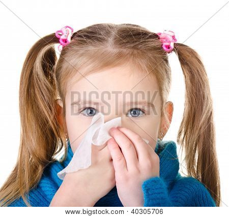 Little Girl Blowing Her Nose Closeup Isolated